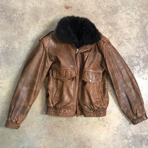 Vintage Top Gun Leather & Fur Jacket